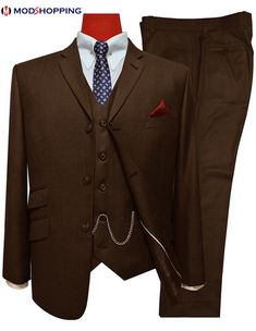 Bespoke Mod Suit has brought this beautiful Classic dark brown 3 Piece Mod Suit to remind us the Mod Clothing. This 3 button mod suit will surely carry out Mod Fashion into today's era. Three Piece Suit For Man, Mens 3 Piece Suits, Mod Suits, Grey Suits, Mod Jacket, Jacket Buttons, 60s Mod Fashion, 3 Button Suit