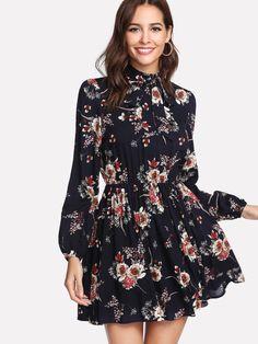 138450ed47ea SHEIN Floral Women Dresses Multicolor Elegant Long Sleeve High Waist A Line  Dress Ladies Tie Neck Dress (Ship After March - Happiest Women