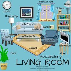 Vocabulary- Living Room, Furniture, ESL, EFL, #EnglishVocabulary #LivingRoom