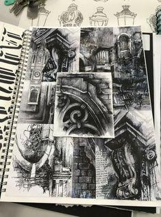 (Ian Murphy Collage) - A Level Art Sketchbook - Architecture Drawing Sketchbooks, Gcse Art Sketchbook, Art And Architecture, A Level Art Sketchbook Layout, Architecture Journal, Architecture Portfolio, Arte Gcse, Kunst Portfolio, Portfolio Ideas