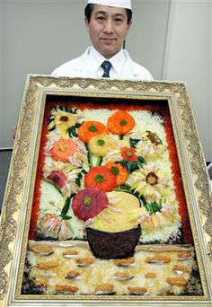 Japanese Sushi chef Ken Kawasumi's sushi-version of Van Gogh's sunflowers.