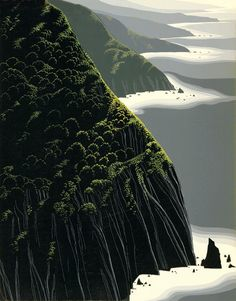 Eyvind Earle - Artist Eyvind Earle, born in New York City in Eyvind Earle enjoyed a prolific career spanning 60 years. In 1951 Eyvind Earle joined Walt Disney Studios and was responsible for the styling, background and color for Sleeping Beauty. Eyvind Earle, Landscape Arquitecture, New York City, Landscape Background, Fantasy Places, Mont Saint Michel, Seascape Paintings, Big Sur, Abstract Landscape