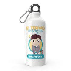 Termo - El termo del mejor sociólogo, encuentra este producto en nuestra tienda online y personalízalo con un nombre. Water Bottle, Drinks, Carton Box, Upcycling, Store, Crates, Drinking, Beverages, Water Bottles