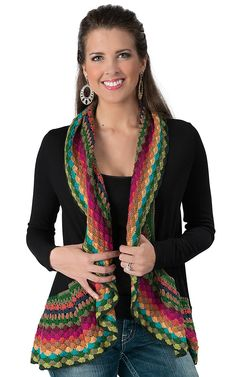 Double Zero® Women's Black with Multi Colored Crochet Long Sleeve Cardigan