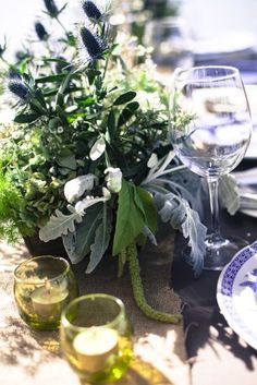 IGBY blue and white wedding table centrepiece and rustic flower boxes