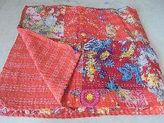 Cotton Handmade Tropican Floral Ikat kantha quilt quilts blanket throw | jaisalmerhandloom