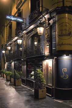 Rita Crane Photography: Paris / historic cafe / Left Bank / architecture / night / lanterns / Restaurant Laperouse, Paris