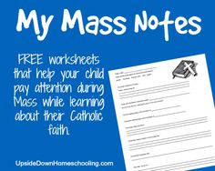 FREE My Mass Notes Printable {for Kids} - Upside Down Homeschooling