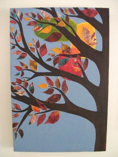 Patchwork Tree Original Mixed Media Artwork by BetweenThePines, $300.00