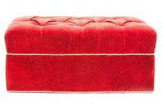 Jasmine Velvet Ottoman, Red on OneKingsLane.com  479.