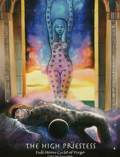 """This is the High Priestess card from Julie Cuccia-Watts newest deck the """"Journey Into Egypt Tarot"""".  Julie has taken a step further into creating a deck that can bridge Tarot and Astrology- only this is based on Sidereal or """"Real Sky"""" Astrology, even as it links the world view of Ancient Egypt with the Modern Skies of today."""
