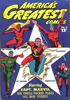 Cover art for America's Greatest Comics no. 2, featuring characters Captain Marvel, Mr. Scarlet, Bulletman, Spy Smasher, and Minute-Man, published by Fawcett, United States, 1942, by Mac Raboy.