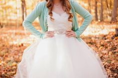 Mint green cardigan with wedding dress
