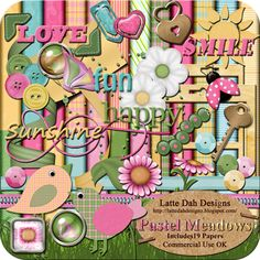 Pastel Meadows Digital Scrapbooking Kit by Latte Dah Designs