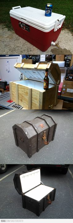 To Make A Treasure Chest Cooler I will never do this, but. How To Make A Treasure Chest Cooler! How To Make A Treasure Chest Cooler! Larp, Deco Pirate, Pirate Theme, Pirate Decor, Pirate Birthday, Pirate Games, Diy Projects To Try, Craft Projects, Cool Wood Projects