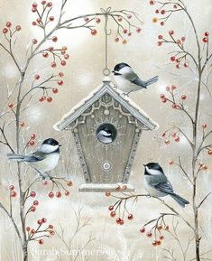 20 Lunch Napkins Serviettes for Christmas Celebration- Beautiful Birdhouse- Stunning Napkins pack of Winter Napkins, Stunning Napkins * Christmas Bird, Christmas Scenes, Vintage Christmas Cards, Tole Painting, Painting & Drawing, Watercolor Paintings, Harmony Art, Art Et Illustration, Christmas Paintings