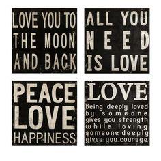 Wall black & white love hangings. Cute around wedding photos & family photos
