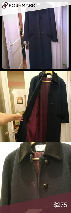 Christine Dior winter wool coat Winter coat with burgendy inner lining and velvet accents at collar and pockets In great condition! No tears or markings  Size 4 (note this is a larger size)  No trades / offers through app only Feel free to all questions! Dior Jackets & Coats