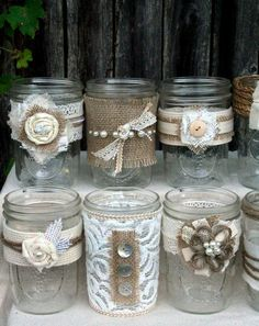 burlap and lace decorated jars