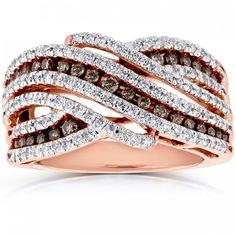 Brown And White Diamond Multi Row Curved Ring 1 Ctw In Rose Gold - Kobelli Big Diamond Wedding Rings, Pink Diamond Ring, Gemstone Engagement Rings, Brown Rings, Rose Gold Jewelry, Gemstone Jewelry, Jewelry Rings, Jewelery, Rings Cool