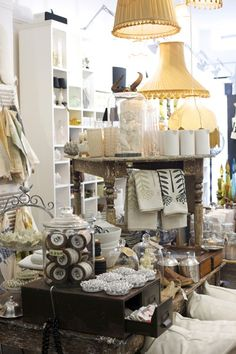 Hanging Lamp Shades / Stacked Tables