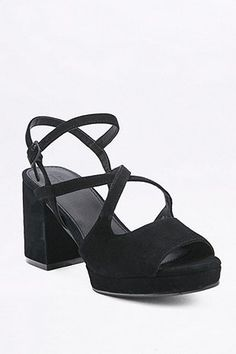 Gina Black Suede Strappy Heels