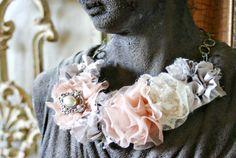 DIY anthro fabric flower necklace tutorial