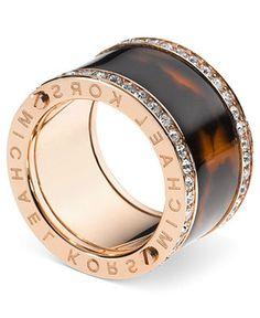 cute cute cute! Michael Kors Ring, Rose Gold-Tone Pave Stone Tortoise Barrel Ring - Macys