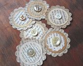 Vintage Paper Ephemera Embellishments-- Assorted Upcycled Book Pages & Buttons (E-01)