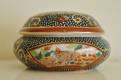Caja porcelana Porcelain trinket box SATSUMA CHINA hand painted golden color in Arte y antigüedades, Cerámica y porcelana, Otras | eBay