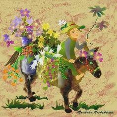Florist donkey By Michiko Nishikawa