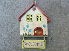 house wall hanging Welcome sign ceramic house ornament clay wall hanging small building fairy home handmade ceramics and pottery Clay Art Projects, Ceramics Projects, Clay Crafts, Pottery Houses, Ceramic Houses, Clay Houses, House Ornaments, Clay Ornaments, Clay Tiles