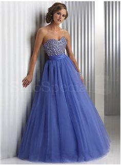 Royal Blue Ball Gown Sweetheart Floor Length Beaded Prom Dress-SinoSpecial.com