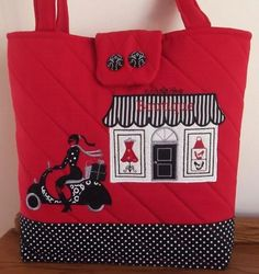 """Vespa Shopping Girl"" Fabric, quilted and embroidered handbag, with buttons. All bags are lined and padded. Bags are made to order, in your colour choice and fabric pattern/design. Embroidery Software, Machine Embroidery Patterns, Fabric Patterns, Embroidery Designs, Vespa, Creation Crafts, Crafts To Make And Sell, Tote Purse, Pattern Design"