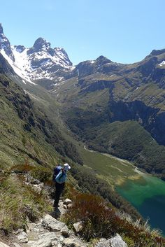 Hiking along Routeburn Track in South Island, New Zealand -- can't say it enough, get 'out there' and enjoy! Top hiking trips New Zealand #newzealandhikes #tuitrip #rimutrip Ebook: 9 Great Walks Of New Zealand http://newzealandwalkingtours.com/ebook/