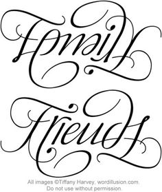 """Family"" & ""Friends"" Ambigram v.2, via Flickr."