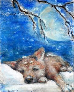 Nursery decor Wolf Cub woodland sleepy baby animals kids wildlife children wall art for kids Canvas or paper print Laurie Shanholtzer
