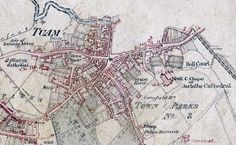 old school map of Tuam, Galway, Ireland.