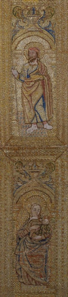 Title: Decorative Band for an Ecclesiastical Vestment Depicting the Madonna and Child Place of creation: Italy or Spain Date: 16th century Material: canvas (ground), gold and silk threads and cord Technique: embroidery in shaded gold, satin and couched stitches and patterned golden technique Inventory Number: Т-15289