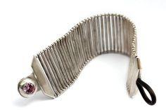 sterling silver bracelet, unique jewelry design, cubic zirconite. $950.00, via Etsy.