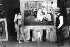 Toulouse-Lautrec in his workshop with a nude model (photo by Maurice Guibert).1895.