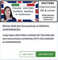 SPEAK ENGLISH Successfully at MEDICAL CONFERENCES is specifically designed to help DOCTORS & medical HEALTHCARE PROFESSIONALS speak better English to communicate confidently with colleagues at conferences. Gain the CONFIDENCE to SPEAK ENGLISH with colleagues, UNDERSTANDING their questions, REQUESTING further clarification and STRATEGIES to think on your feet before being ABLE TO REPLY. Suddenly confident speaking English without feeling embarrassed will improve your career! Speak English Fluently, English Speaking Skills, Speak Language, Medical Conferences, Better English, Improve Your English, Medical Field, Self Assessment, Suddenly