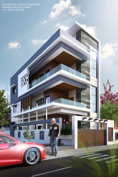 Exterior By, Sagar Morkhade (Vdraw Architecture) 8793196382 3 Storey House Design, House Front Design, Modern Apartment Design, Modern House Design, Facade Design, Exterior Design, Townhouse Designs, Contemporary House Plans, Building Facade