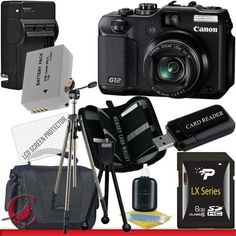 Canon PowerShot G12 Digital Camera 8GB Package 4 by Canon. $504.95. Package Contents:  1- Canon G12 10 MP Digital Camera USA w/ All Supplied Accessories 1- 8GB SDHC Class 10 Memory Card 1- Rapid External Ac/Dc Charger Kit   1- USB Memory Card Reader  1- Rechargeable Lithium Ion Replacement Battery  1- Weather Resistant Carrying Case w/Strap  1- Pack of LCD Screen Protectors  1- Camera & Lens Cleaning Kit System  1- Mini Flexible Table Top Tripod 1- Memory Card Walle...