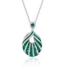Diamond and Emerald 18k White Gold Pendant  #ColorOfTheYear #2013 #Trends