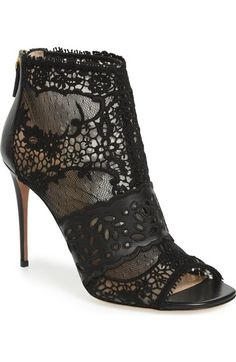 Valentino Lace Peep Toe Bootie (Women) available at #Nordstrom