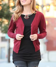 Love this Marsala Button-Sleeve Cardigan on #zulily! #zulilyfinds
