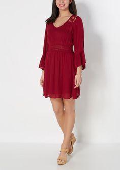 image of Burgundy Daisy Illusion Bell Sleeve Dress