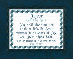 Joyce - Name Blessings Personalized Cross Stitch Design from Joyful Expressions Cross Stitch Designs, Stitch Patterns, Christ Quotes, Color Kit, Names With Meaning, Gifts For Family, Joyful, Baby Names, Custom Framing