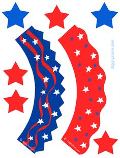 Patriotic Cupcake Wrappers to Print for July 4th #funfood #cupcakes #july4th